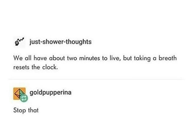 Text - just-shower-thoughts We all have about two minutes to live, but taking a breath resets the clock goldpupperina Stop that