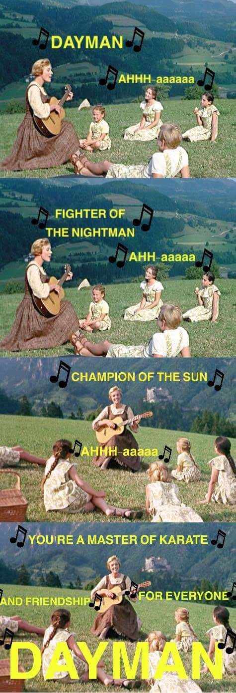 Poster - DAYMAN АННН-аааaaa w FIGHTER OF THE NIGHTMAN AHH-aaaaa www CHAMPION OF THE SUN JАННН ааaa. YOU'RE A MASTER OF KARATE FOR EVERYONE AND FRIENDSHIP DAYMAN