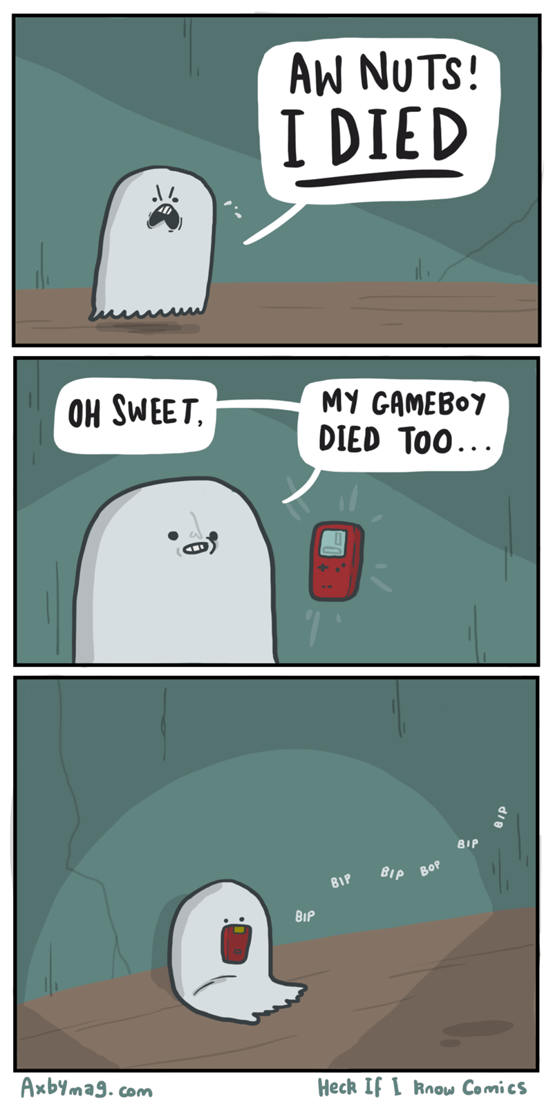 Cartoon - AW NUTS! I DIED OH SWEET MY GAMEBOY DIED TOO.. BIP ΒιρΒ0 BIP BIP Axbymag. com Heck If I Rnow Comics
