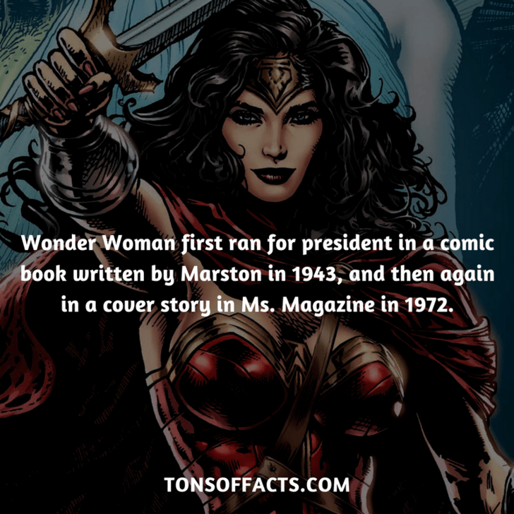 Cg artwork - Wonder Woman first ran for president in a comic book written by Marston in 1943, and then again in a couer story in Ms. Magazine in 1972. TONSOFFACTS.coM