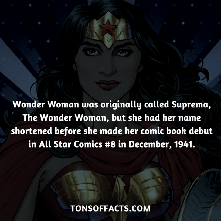 Fictional character - Wonder Woman was originally called Suprema, The Wonder Woman, but she had her name shortened before she made her comic book debut in All Star Comics #8 in December, 1941. TONSOFFACTS.COM