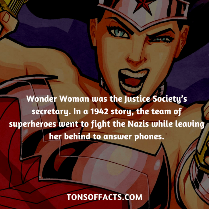 Cartoon - Wonder Woman was the Justice Society's secretary. In a 1942 story, the team of superheroes went to fight the Nazis while leauing her behind to answer phones. TONSOFFACTS.COM