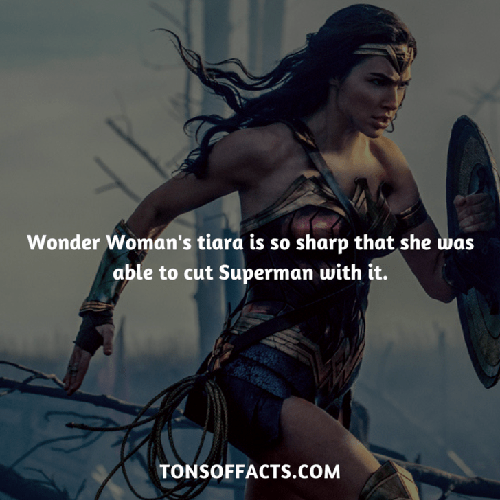 Cg artwork - Wonder Woman's tiara is so sharp that she was able to cut Superman with it. TONSOFFACTS.COM