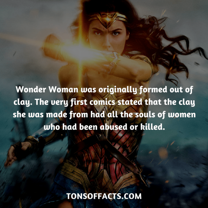 Cg artwork - Wonder Woman was originally formed out of clay. The very first comics stated that the clay she was made from had all the souls of women who had been abused or killed. TONSOFFACTS.COM
