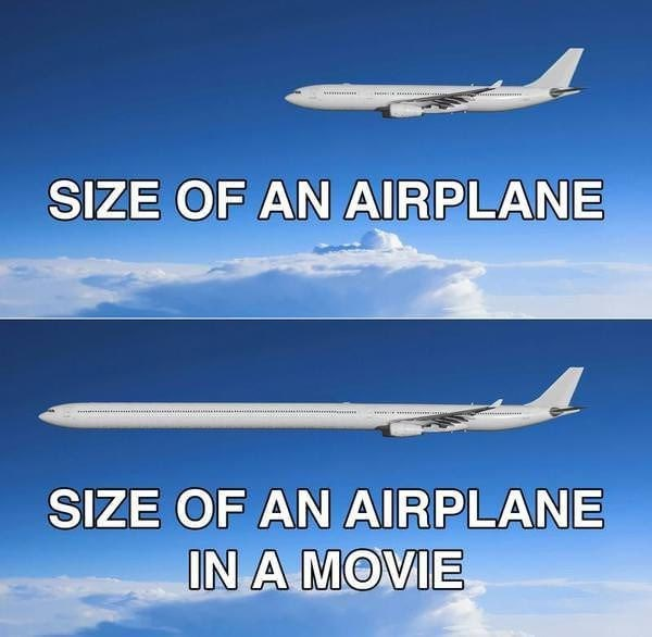 size of an airplane in a movie