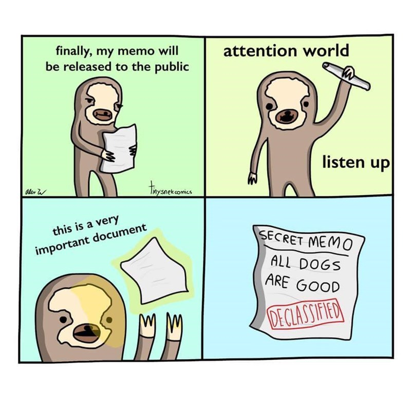 wholesome meme - Cartoon - attention world finally, my memo will be released to the public listen up thyenomtes aler snekcomics this is a very SECRET MEM0 important document ALL DOGS ARE GOOD DECIASSIFIED