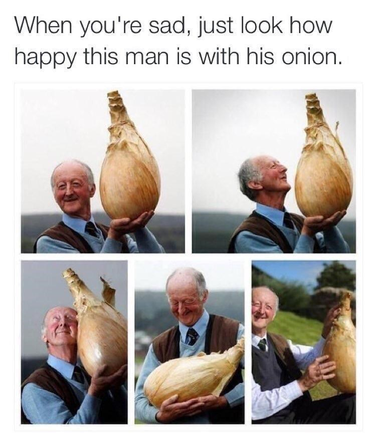wholesome meme - Onion - When you're sad, just look how happy this man is with his onion.