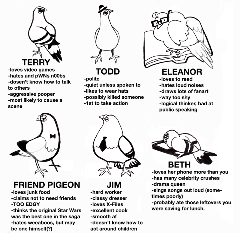 Bird - TERRY -loves video games -hates and pWNs n00bs -dosen't know how to talk TODD ELEANOR -polite -quiet unless spoken to -loves to read -hates loud noises to others -likes to wear hats -draws lots of fanart -aggressive pooper -most likely to cause a -possibly killed someone -1st to take action -way too shy -logical thinker, bad at public speaking scene BETH -loves her phone more than you -has many celebrity crushes -drama queen FRIEND PIGEON JIM -sings songs out loud (some- times poorly) -pr