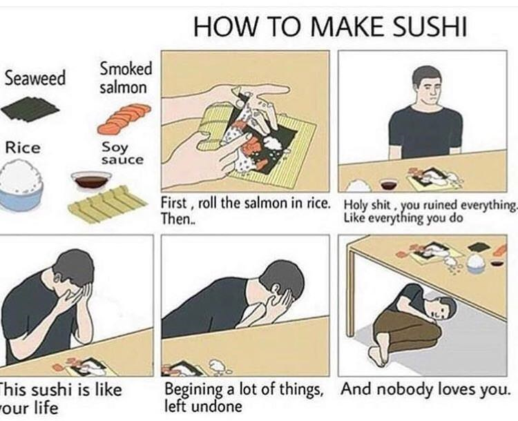 Cartoon - HOW TO MAKE SUSHI Smoked salmon Seaweed Rice Soy sauce First, roll the salmon in rice. Then. Holy shit. you ruined everything- Like everything you do Begining a lot of things, left undone And nobody loves you. his sushi is like our life