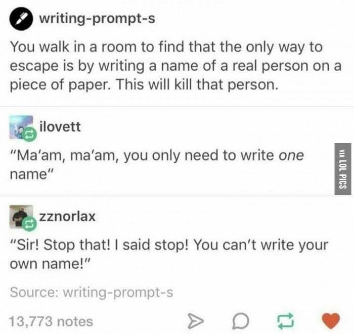 funny writing prompt two kinds of people meme about wanting to kill others vs wanting to kill yourself