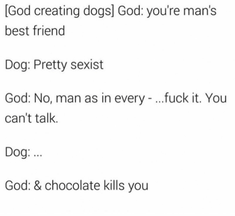 dark and offensive dank meme about god being vengeful toward creation that talks back to him