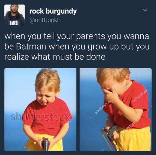 dank meme about child killing his own parents so he can become Batman