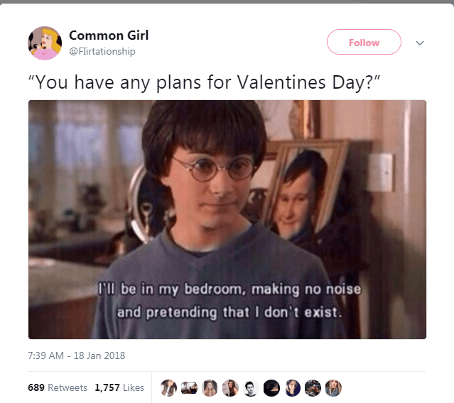 "Text - Common Girl Follow @Flirtationship ""You have any plans for Valentines Day?"" Il be in my bedroom, making no noise and pretending that I don't exist. 7:39 AM 18 Jan 2018 689 Retweets 1,757 Likes"