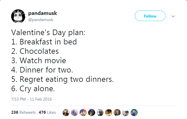 Text - pandamusk Follow @pandamusk Valentine's Day plan: 1. Breakfast in bed 2. Chocolates 3. Watch movie 4. Dinner for two. 5. Regret eating two dinners. 6. Cry alone. 7:53 PM - 11 Feb 2016 236 Retweets 476 Likes
