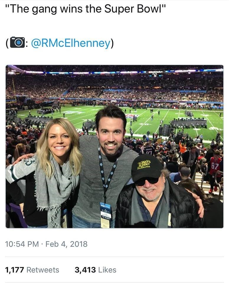 "Product - ""The gang wins the Super Bowl"" O: @RMcElhenney) ALWAYS SUNNY LPA 87 10:54 PM Feb 4, 2018 1,177 Retweets 3,413 Likes"