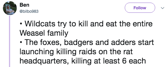 Text - Ben Follow @bilbo983 Wildcats try to kill and eat the entire Weasel family The foxes, badgers and adders start launching killing raids on the rat headquarters, killing at least 6 each