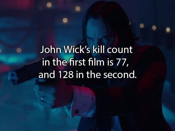 Font - John Wick's kill count in the first film is 77, and 128 in the second.