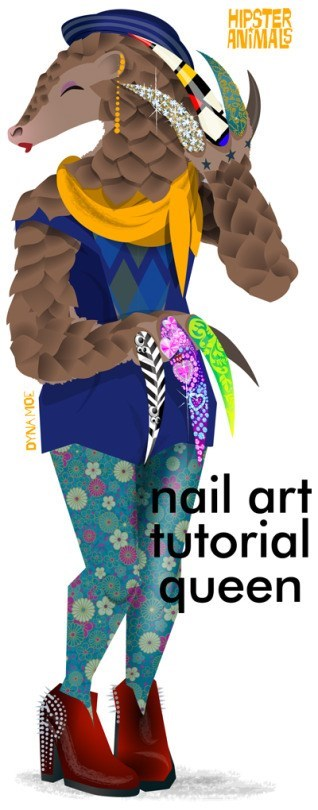 Clothing - HIPSTER ANIMALS nail art tutorial queen DYNA MOE