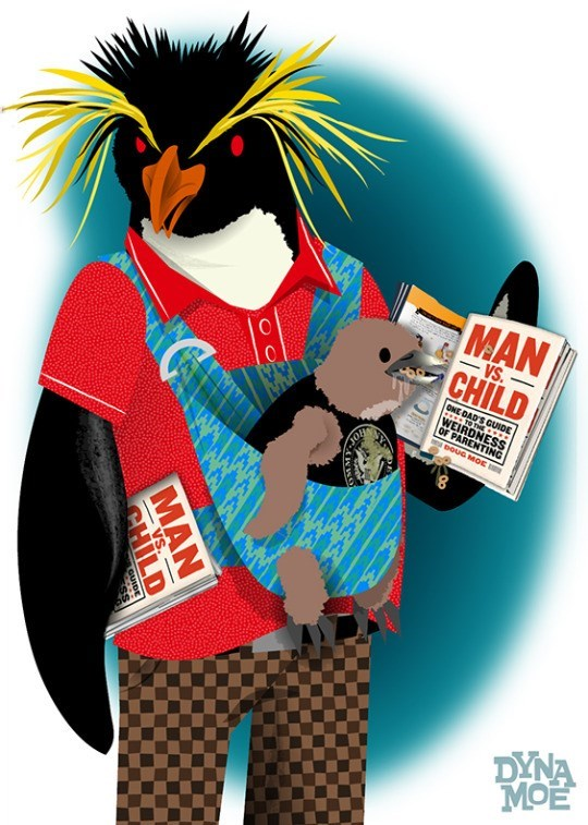Cartoon - MAN VS CHILD ONE DAD'S GUIDE TO THE WEIRDNESS OF PARENTING DOUG MOE JOH DYNA MAN CHILD