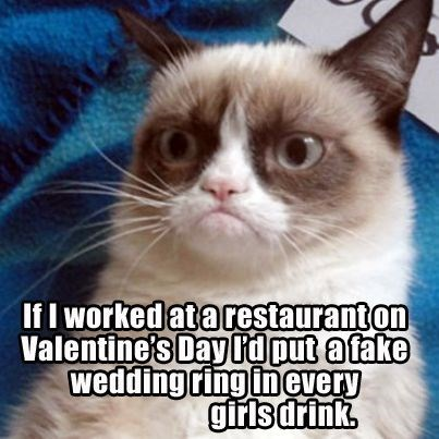 grumpy - Cat - If I worked atarestauranton Valentine's Day I'd put atake wedding ring inevery girls drink