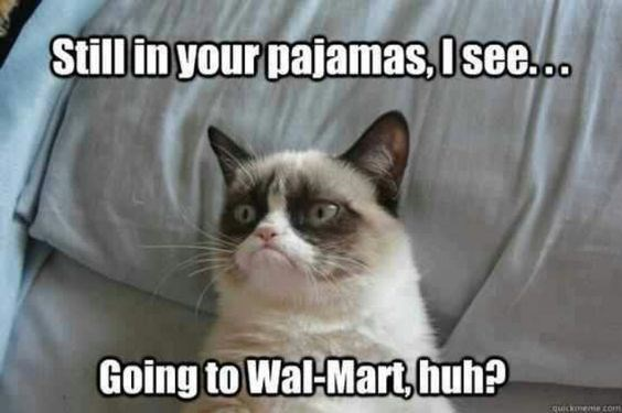 grumpy - Cat - Stillin your pajamas, Isee.c. Going to Wal-Mart,huh? cquickomeme com