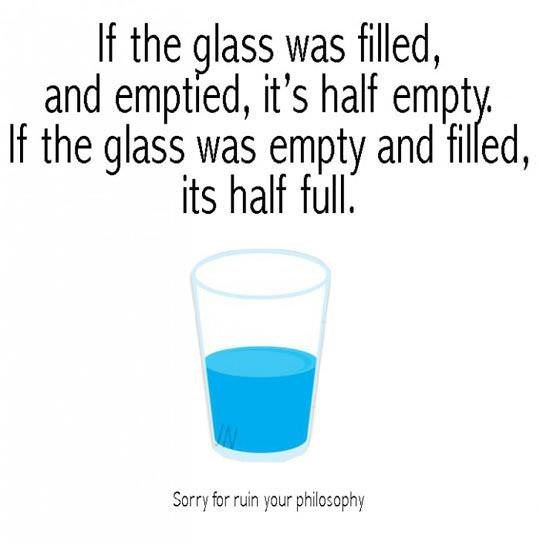tuesday meme about the glass half full/empty