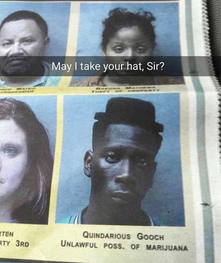meme of a man who's haircut is shaped like a hat