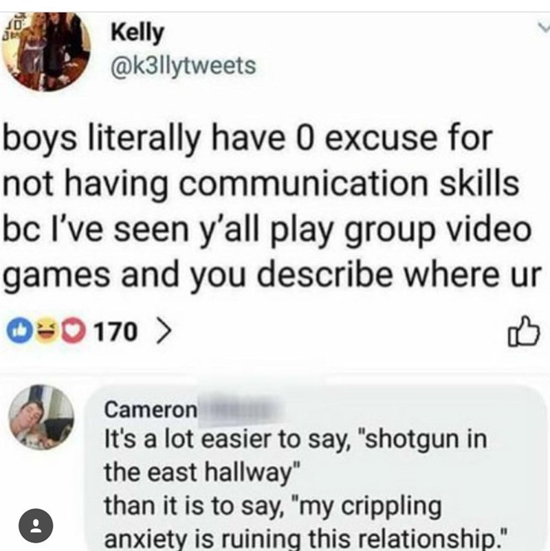 tweet about men not communicating well but are able to communicate in video games