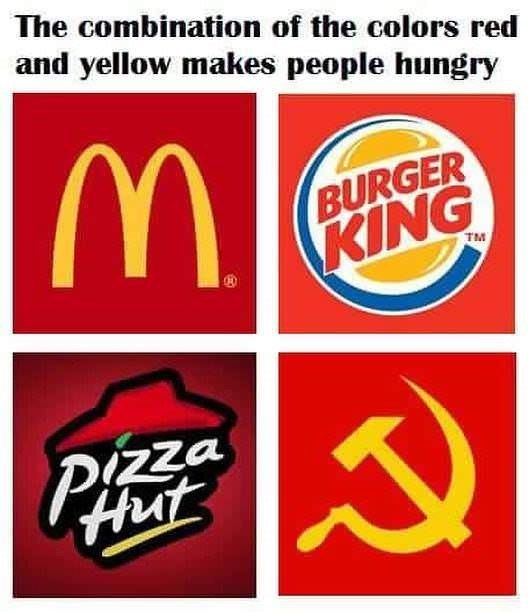 meme about red and yellow making people hungry