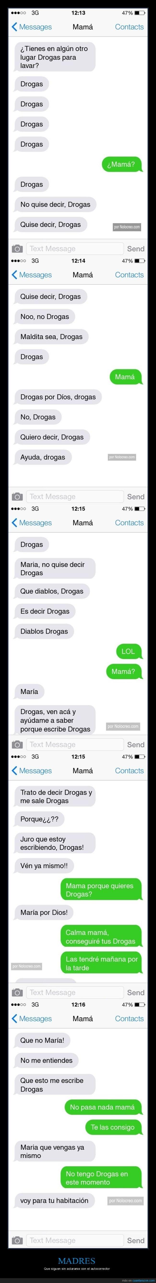 chica cambia la palabra ropa por drogas en el celular de su mama