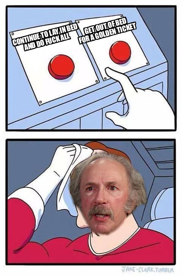 meme about grandpa joe needing to choose between two red buttons