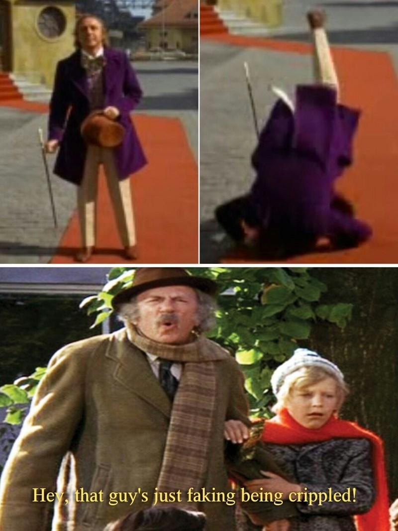 meme about grandpa joe walking in willy wonka