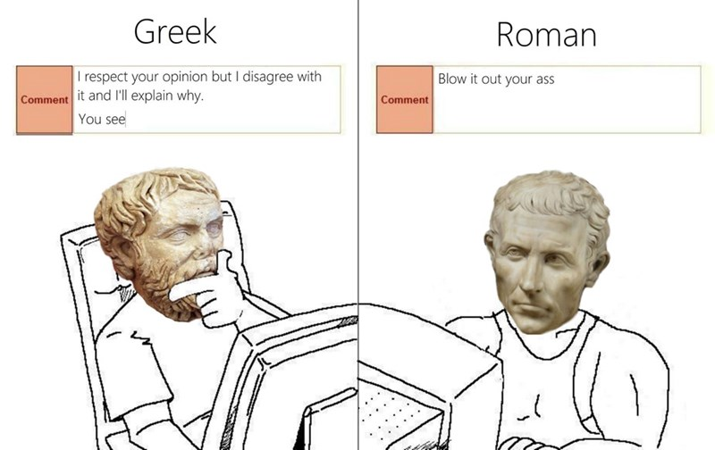 different ways to discuss on internet roman vs greek