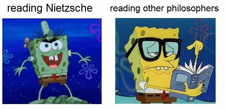 philosophy meme - Cartoon - reading Nietzsche reading other philosophers