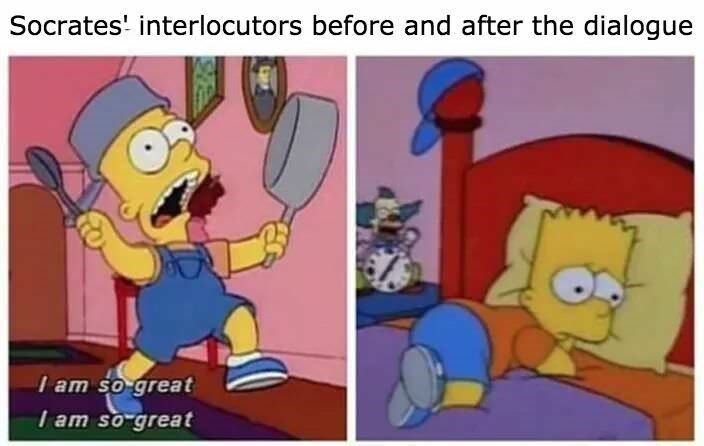 philosophy meme - Cartoon - Socrates' interlocutors before and after the dialogue I am so great I am so great