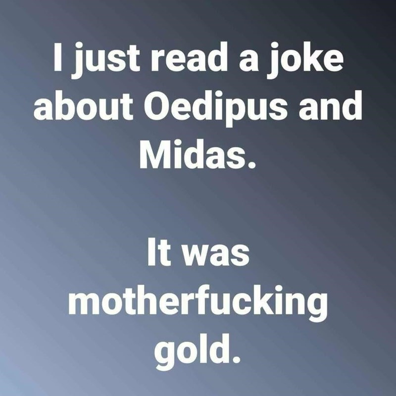philosophy meme - Text - I just read a joke about Oedipus and Midas. It was motherfucking gold.