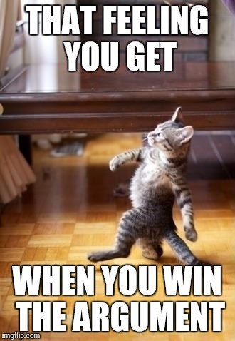 TFW - Cat - THAT FEELING YOU GET WHEN YOU WIN THE ARGUMENT imgflip.com