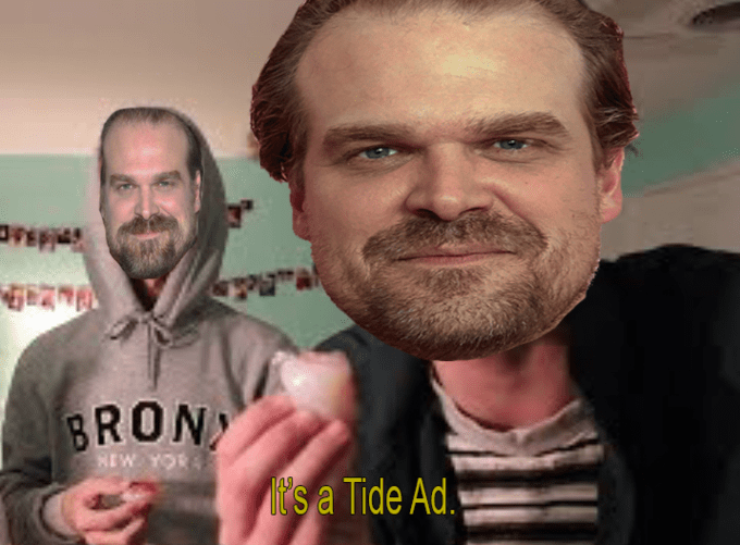 tide ad - Facial hair - PN BRON REW YOR it's a Tide Ad.