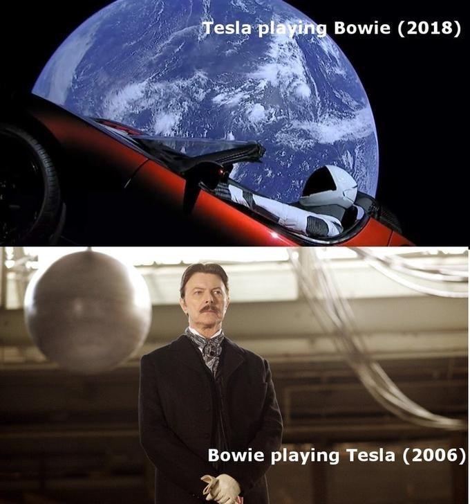 space tesla - Sky - Tesla playing Bowie (2018) Bowie playing Tesla (2006)
