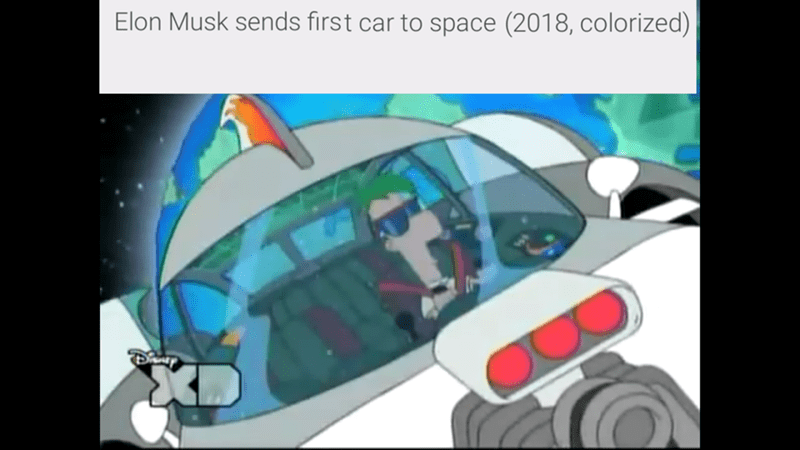 space tesla - Cartoon - Elon Musk sends first car to space (2018, colorized)