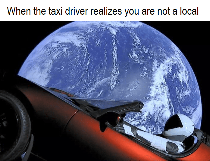 space tesla - Helmet - When the taxi driver realizes you are not a local