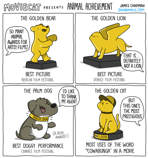 "Cartoon - ANIMAL ACHIEVEMENT MOVIECAT JAMES CHAPMAN SOUNDIMALS.COM PRESENTS THE GOLDEN BEAR THE GOLDEN LION SO MANY ANIMAL AWARDS FOR ARTSY FILMS! THAT IS. DEFINITELY NOT A LION BEST PICTURE BERLIN FILM FESTIVAL BEST PICTURE VENICE FILM FESTIVAL THE PALM DOG THE GOLDEN CAT D LIKE TO THANK MY AGENT BUT THIS ONE'S THE MOST PRESTIGIOUS PALM DOG (A REAL AWARD!) TANT 2 MOST USES OF THE WORD BEST DOGGY PERFORMANCE ""COWABUNGA IN A MOVIE CANNES FILM FESTIVAL"