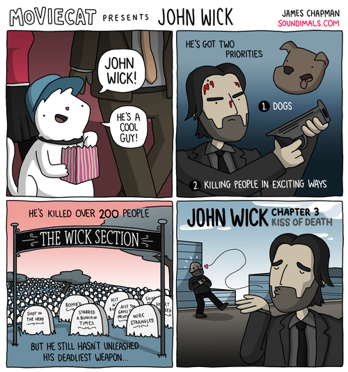 Cartoon - MOVIECAT JOHN WICK JAMES CHAPMAN SOUNDIMALS.COM PRESENTS HE'S GOT TWO PRIORITIES JOHN WICK! 1 DOGS HE'S A COOL GUY! 2. KILLING PEOPLE IN EXCITING WAYS HE'S KILLED OVER 200 PEOPLE JOHN WICK CHAPTER 3 KISS OF DEATH THE WICK SECTION= SHOR HIT HRT uST T SHT THE HEA STAED BUNCH TIMES WIRE STRANGLED BUT HE STILL HASNT UNLEASHED HIS DEADLIEST WEAPON...