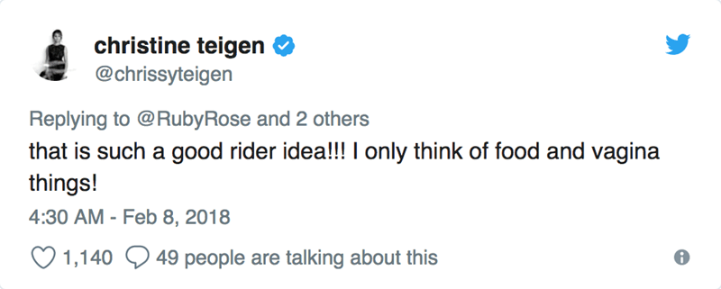 Text - christine teigen @chrissyteigen Replying to @RubyRose and 2 others that is such a good rider idea!!! I only think of food and vagina things! 4:30 AM - Feb 8, 2018 talking about this 49 people are 1,140