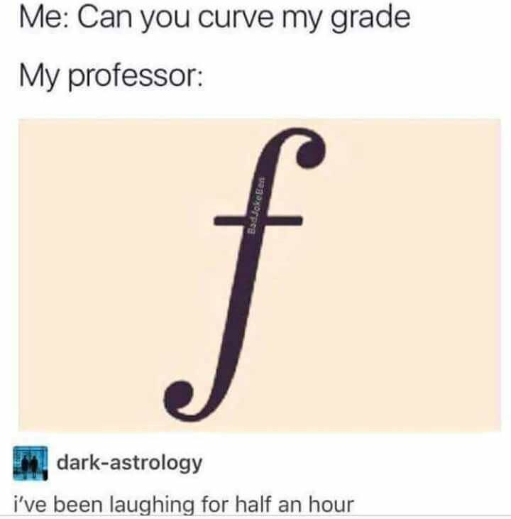 memes - Text - Me: Can you curve my grade My professor: f dark-astrology i've been laughing for half an hour BadJokeBen