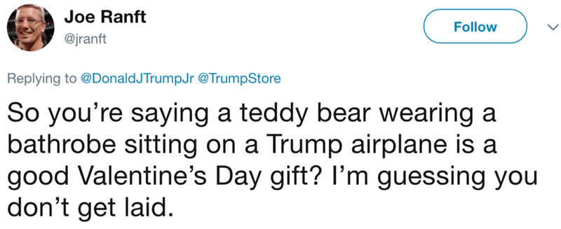 Text - Joe Ranft Follow @jranft Replying to @DonaldJTrumpJr@TrumpStore So you're saying a teddy bear wearing a bathrobe sitting on a good Valentine's Day gift? I'm guessing you don't get laid. Trump airplane is