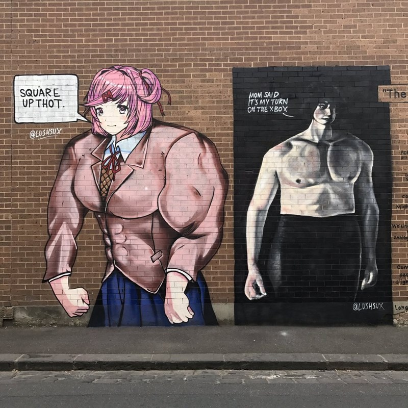"Street art - ""The SQUARE UP THOT MOM SAID IT'S MY TURN ON THE XBOX LUSUSUX Waik @LUSHSUX Long"