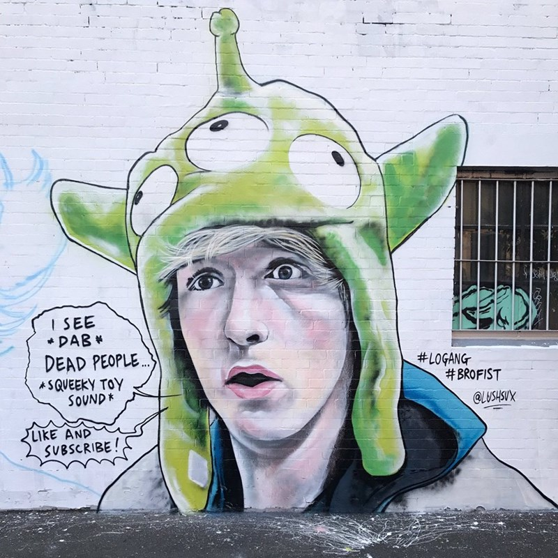Street art - I SEE DAB DEAD PEOPLE #LOGANG #BROFIST ASQUEEKY TOY SOUND* QLUSHSUX LIKE AND SUBSCRIBE