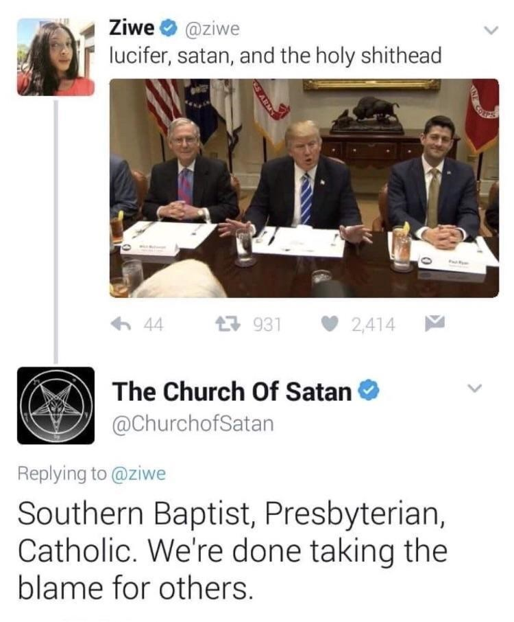 Funny meme about satan and donald trump.