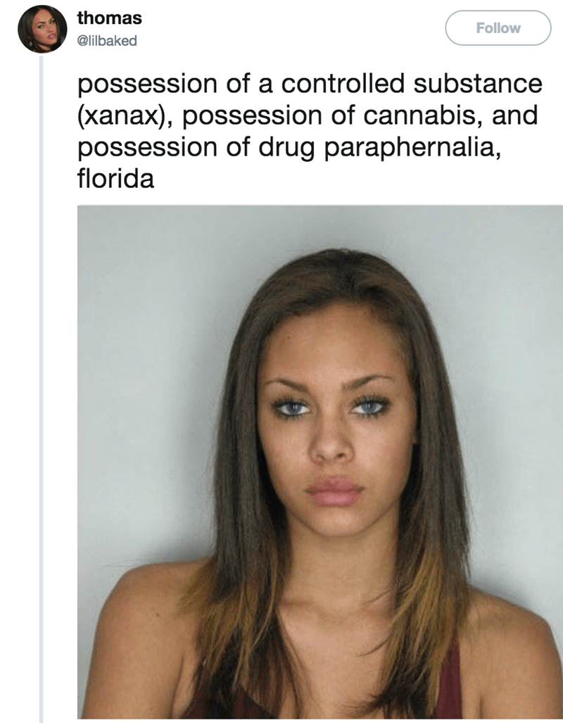 Hair - thomas Follow @lilbaked possession of a controlled substance (xanax), possession of cannabis, and possession of drug paraphernalia, florida